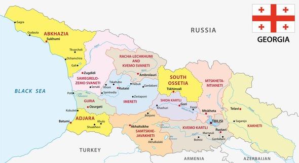 Karte von Georgien. Diese Seite bietet einen allgemeinen Überblick über Georgien und seine Wirtschaftslage sowie wichtige Fakten über das Land.